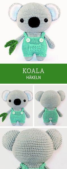 Amigurumi Anleitung für einen süßen Koala Bär als Geschenk für Kinder, Häkelanleitung #Geschenke #Geschenkidee #Geschenkebasteln #Kindergeschenke #GeschenkefürKinder #Geschenkeselbermachen #DIYGeschenke Crochet Motifs, Diy Crochet Gifts, Cute Crochet, Crochet For Kids, Diy Crochet Top, Crochet Baby, Knit Crochet, Baby Knitting Patterns, Crochet Patterns Amigurumi
