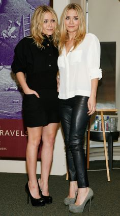 MKA MARY KATE ASHLEY OLSEN EVENT BOOK SIGNING INFLUENCE YSL TRIBUE PUMPS LEATHER PANTS LEGGINGS SKIRT WHITE TOP BUTTON DOWN HAIR
