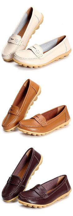 US$15.32 Big Size Pure Color Breathable Soft Leather Flat Loafers