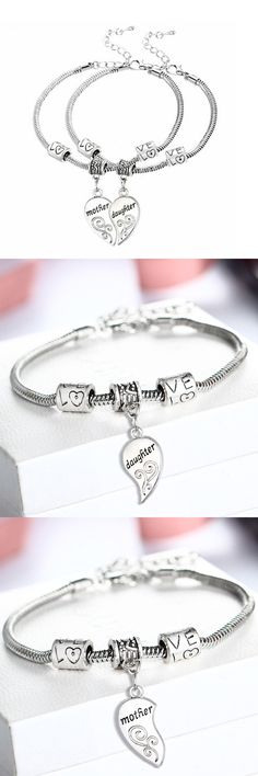 [Visit to Buy] 2PCS Silver Plated Mother Daughter Broken Splicing Heart Bracelet Bangle Mom Women Girl Femme Charm Statement Jewelry Party #Advertisement