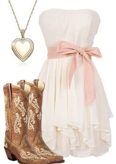 Dress ideas for Tiffany's wedding. I like the dress and boots maybe the dress in a diff color. don't really like the necklace tho
