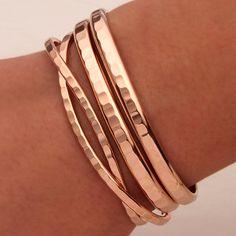 Hammered Cuff Bracelets Rose Gold Filled by DavidSmallcombe