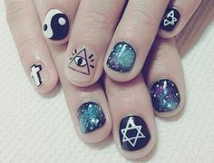"""With the help of this post you will be able to learn all about the awesome """"eye nails art designs Among the few best nail art designs, eye nails art . Love Nails, How To Do Nails, Pretty Nails, My Nails, Teen Nails, Grunge Nail Art, Nail Art Designs, Tumblr Nail Art, Space Nails"""