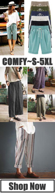 e6dd44bbd74 Women Plus Size Loose Comfy Linen Pants