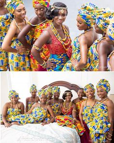 Ghana Traditional Wedding, African Traditional Wedding Dress, Traditional Dresses, African Fashion Ankara, African Outfits, Ghana Wedding Dress, African Bridesmaid Dresses, Engagement Hairstyles, Kente Styles