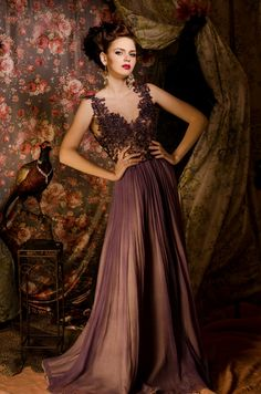 This is the part of a series of photos taken in a fabulous decor, with a very beautiful model and wonderful, glamorous dresses! Violet Dresses, Glamorous Dresses, Beautiful Models, Wedding Gowns, Fairy Tales, Party Dress, Satin, Glamour, Formal