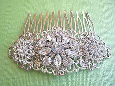 Wedding hair Piece, Sparkling flowers, bridal hair comb $39.50, via Etsy.