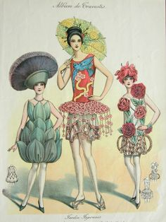 1920s Art Deco French Floral Fashion - Masquerade Costumes - Color Engraved Print