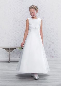 Holy Communion Dress - Emmerling 70167 - NEW 2016 - Lace & Satin First Communion Dress -  Age 7, 8, 9, 10 years - Girls 1st Holy Communion Dress - White Holy Communion Gown