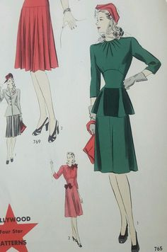 Vintage Hollywood Sewing Patterns 40s 1940s Catalog Counter Book Vogue Fashion  in Collectibles, Sewing (1930-Now), Patterns, Women   eBay