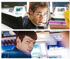 Kirk and Spock. One of the coolest moments in Star Trek 2009. No words were needed in this scene. It was like legend finally coming together. Pine and Quinto didn't need much of a push to have the same brotherhood that Shatner and Nimoy did.