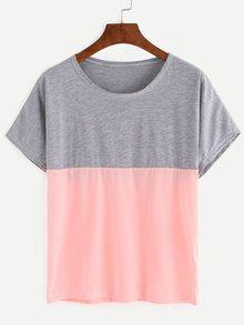 Grey And Pink Color Block loose T-shirt