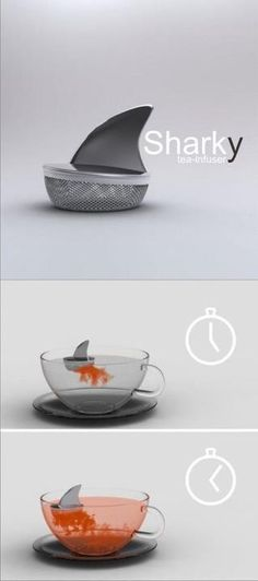 Want this tea device, the Sharky tea infuser? You put your tea in the bottom com. Want this tea device, the Sharky tea infuser? You put your tea in the bottom compartment, attach the dorsal fin top, Cool Inventions, My Cup Of Tea, Kitchen Gadgets, Kitchen Tools, Tea Set, Tea Time, Tea Party, Tea Cups, Cool Stuff