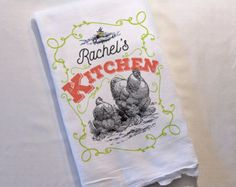WICKED CHICKENS LAY DEVILED EGGS  Add some fun to your kitchen with this vintage-inspired Nag Rags flour sack towel. Makes a fun hostess gift, bridal shower gift or keep for yourself! This original design was created by me and then heat transferred onto the towel. I distressed the image for added vintage charm! This tea towel is part of my Nag Rags tea towel line. Check out the other fun tea towel designs in my shop. All tea towels are made to order using a professional heat press. Optional…