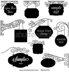 Vector Set of Old Shop Signs