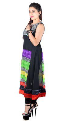 Beautiful Black multi Color Printed Georgette Long Kurti By Vivaa Kurtas and Kurtis For Women on Shimply.com