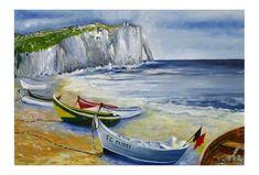 TABLEAU PEINTURE Barques Etretat mer normandie Marine Peinture a l'huile  - Barque à Etretat