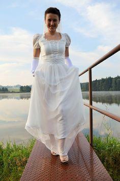 Svatební šaty - Pýcha a předsudek One Shoulder Wedding Dress, White Dress, Wedding Dresses, Fashion, Bride Dresses, Moda, Bridal Gowns, Fashion Styles, Weeding Dresses
