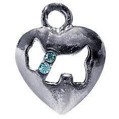 Pingente Coração Schnauzer Azul São Pet - MeuAmigoPet.com.br #petshop #cachorro #cão #meuamigopet