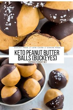Keto Peanut Butter Balls (Buckeyes) - chocolate-covered peanut butter fudge made sugar-free and grain-free - an easy healthy dessert recipe #grainfree #keto #sugarfree #peanutbutter #chocolate #homemadecandy #sugarfree