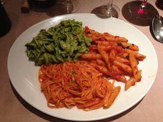 Pasta sampler in Paris at Del Papa
