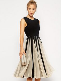 High Quality Round Neck Blended Contrasting Color Casual-dress Casual Dresses from fashionmia.com