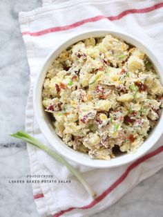 Loaded Baked Potato Salad (with bacon and cheese!) - always willing to collect another potato salad recipe. Potato Dishes, Potato Recipes, Soup And Salad, Pasta Salad, Shrimp Salad, Egg Salad, Cucumber Salad, Chicken Salad, Fruit Salad