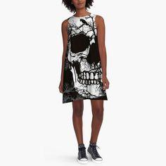 Women Dress Black O neck  Knitted Dress Dress 3D Skull Printed  Summer Loose Casual Dresses #Affiliate