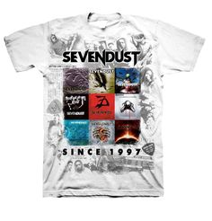 "Very popular ""Sevendust Since 1997"" Album covers shirt on white.100% preshrunk cotton."