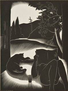 "michaelfaudet: "" Paul Landacre, Sultry Day - 1937 wood engraving "" Paul Hambleton Landacre (July Columbus, Ohio - June Los Angeles, California) participated in the Southern. She And Her Cat, Scratchboard, Wood Engraving, Woodblock Print, White Art, Cat Art, Printmaking, Graphic Art, Book Art"