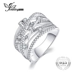 JewelryPalace Luxurious Round Wide Band Cocktail Ring For Women Genuine 925 Sterling Silver Wedding Jewelry Gift Silver Wedding Jewelry, Wedding Jewellery Gifts, Sterling Silver Jewelry, Wedding Rings, Silver Rings, Jewelry Sets, Jewelry Accessories, Fine Jewelry, Style Personnel