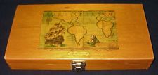 Vintage Treasure wood box nautical Decoupage Magellan map dovetail corners