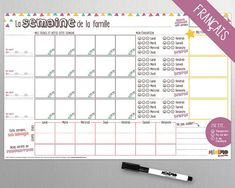 One Week At a Time family organizer – horizontal - Magnets - Magnetic Board - Weekly Planner - Family - Chores - Kids - Minimo