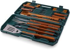 18-piece Wooden BBQ Tool Set Handles Barbeque With Carry Case Stainless Steel #18pieceWooden