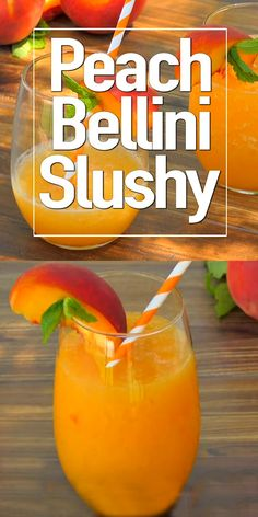 Frozen peaches, Peach Schnapps and Prosecco whirl up into a fabulously delicious Peach Bellini Slushy! Our easy recipe for a frozen peach bellini with Peach Schnapps will be the hit of your next happy hour! Peach Schnapps Drinks, Peach Drinks, Peach Sangria, Summer Drinks, Peach Bellini Recipe With Peach Schnapps, Peach Juice, Mixed Drinks Alcohol, Alcohol Drink Recipes, Recipes