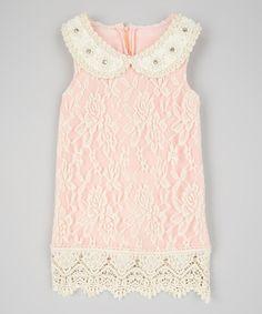 Look at this #zulilyfind! Ivory & Pink Lace Dress & Bib Necklace - Toddler & Girls by Sweet Charlotte #zulilyfinds