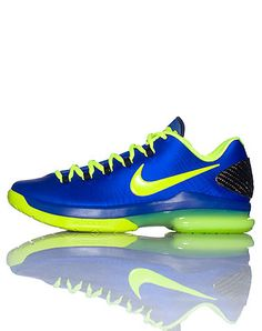 NIKE KEVIN DURANT High top mens sneaker Lace up closure Colorful abstract design Contrasting bright colored laces Signature NIKE swoosh on sides of shoe