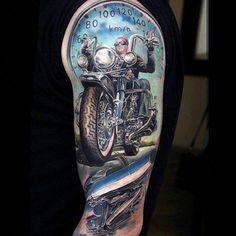 half sleeve tattoo template #Halfsleevetattoos Harley Tattoos, Harley Davidson Tattoos, Bike Tattoos, Motorcycle Tattoos, Bicycle Tattoo, Body Art Tattoos, Hand Tattoos, Biker Tattoos Designs, Tattoo Arm Designs
