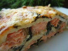 "In Norwegian, but Google translates pretty well. Low Carb Salmon Lasagne with Spinach. She has a recipe for lasagne ""noodles"" made from eggs, cream cheese, and fiber."