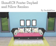 3 recolors of ShinoKCR's Pottery Barn Home Office Daybed and Pillows :) You don't need the originals for these recolors to show up. Pillow and daybed recolors in one file Download at my google drive TOU: Don't reupload and don't claim as your own