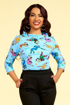 Laura Byrnes Joanie Top in Space Babes Print | Retro Style Blouse | Pinup Girl Clothing