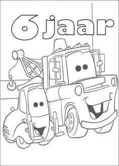 Tow Mater And Guido From Cars Coloring Page