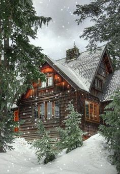 This is where I would love to be right now, in a cabin where snow is falling outside. By the fireplace and a queue of books!