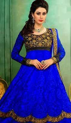 Indian Designer Royal Blue Nett Churidar Anarkali Suit, Dress