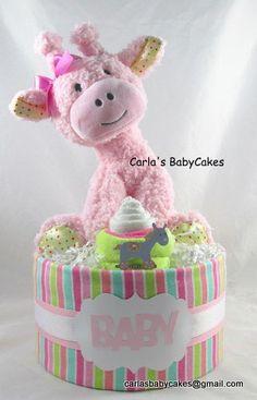 Girl diaper cake  Pink giraffe diaper cake  by MsCarlasBabyCakes