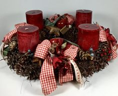 "Adventskranz mit Bergkieferzapfen ""Cyclame deep red"" Christmas Time, Christmas Wreaths, Magnolia Wreath, Boxwood Wreath, Advent Wreath, Red Candles, Kiefer, Deep, Etsy"
