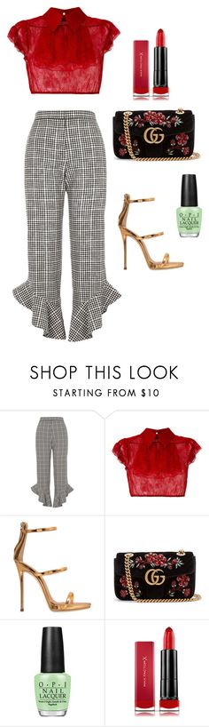 """Lady in Red"" by simiahc on Polyvore featuring River Island, N°21, Giuseppe Zanotti, Gucci, OPI and Max Factor"