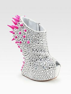 I don't usually like heel-less shoes but i would wear these! :D Giuseppe Zanotti  Mixed Media Curved-Wedge Platform Ankle Boots