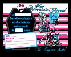 Convite Aniversário  Monster High Sweet 1600
