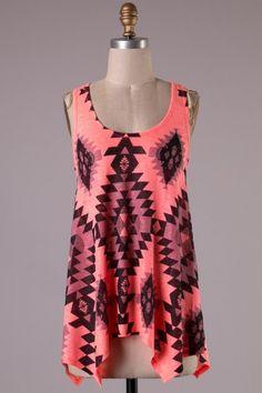 Sleeveless asymmetrical knit Aztec print tank top